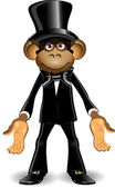 Monkey in a top hat — Stock Vector