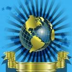 golden Globes auf blau — Stockvektor