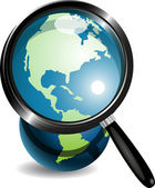 Globe under magnifying glass — Stock Vector