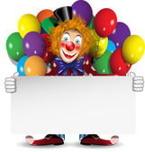 Redhead clown with a banner and balloons — Stock Vector