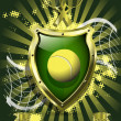Tennis ball on background of the shield — Stock Vector #23284628