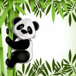 Cheerful panda on bamboo — Stock Vector