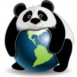 Panda on the globe — Stock Vector