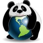 Panda on the globe — Stock Vector