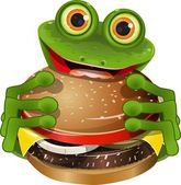 Frog with cheeseburger — Stock Vector