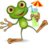 Frog and cocktail — Stock Photo
