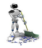 Robot with a broom — Stock Photo