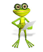 Frog with tablet — Stock Photo