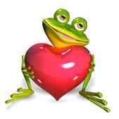 Groda med hjärta — Stockfoto