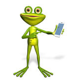 Frog with a smartphone — 图库照片
