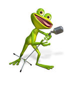 Frog with microphone — Stock Photo