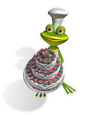 Frog chef with cake — Stock Photo
