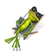 Frog in a deckchair — Stock Photo