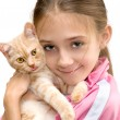 The girl with a red kitten — Stock Photo #18179167