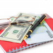 Pen, spectacles, dollar, euro — Stock Photo #28746779