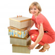 The woman with boxes — Stock Photo #2885029