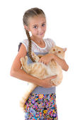 The girl with a red cat — Stock Photo