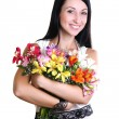 Happy Young Woman Hugging Flowers — Stock Photo