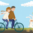Family Cycling: Father, Mother and Child — Stock Vector