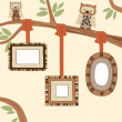 Three Empty Frames on Family Tree — Stock Vector