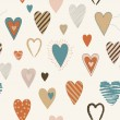 Vector Seamless Pattern with Colored Heart Shapes — Stok Vektör