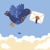 Blue Bird Carrying Letter — Stock Vector