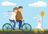 Family Cycling: Father, Mother and Child — Vector de stock