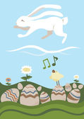 Easter Card: Wight Rabbit and Songbird — Stock Vector