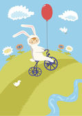 Little Cyclist in Bunny Costume — Stock Vector