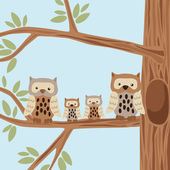 Owl Family on the Tree — Stock Vector