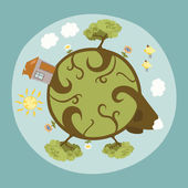 Around the Little Planet - our Home — Stock Vector