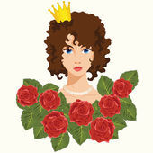 Princess with Red Roses — Stock Vector