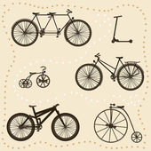 Set of Bicycle Silhouettes — Stock Vector