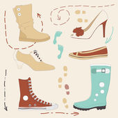 Set of Various Shoes — Stock Vector