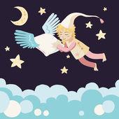 与飞行的枕头睡觉的女孩 — 图库矢量图片