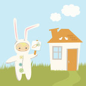 Small Child in Bunny Costume — Stock Vector