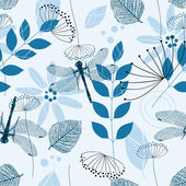 Vector Seamless Pattern of Blue Flowers and Leaves — Stock Vector