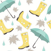 Vector Seamless Pattern with Rubber Boots and Umbrellas — Stock Vector