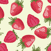 Vector Seamless Pattern with Red Strawberries — Stock Vector