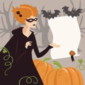 Young Woman in Halloween Witch Costume — Stock Vector