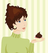 Young Woman and Cake — Stock Vector