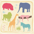 Colored Wild Animals' Set — Stock Vector