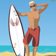 Attractive Surfer — Stock Vector