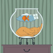 Cat Sleep inside the Aquarium — Stock Vector