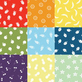 Nine Fruit Patterns — Stock Vector