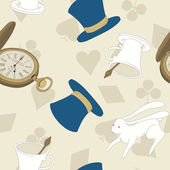 Vector Seamless Pattern with Top Hat, Rabbit, Watch and Cup — Stock Vector