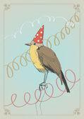 鸟在帽子里 — 图库矢量图片