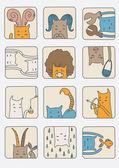 Set of Cats - Zodiac Symbols — Stock Vector