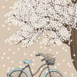 Bicycle and Blooming Tree — Stock Vector #38956411