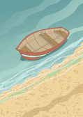 Boat at the Coast — Stock Vector